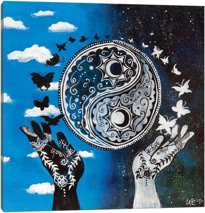 Yin And Yang Hands Canvas Art Print