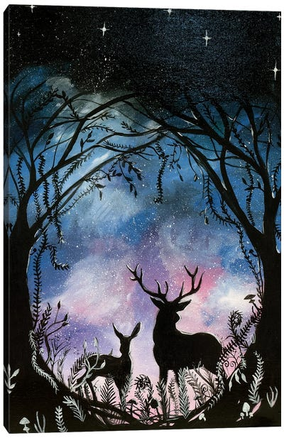 Night Deer Canvas Art Print