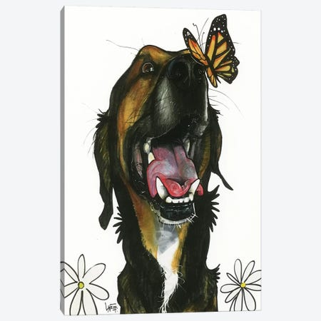 Butterfly Kisses Canvas Print #CCA10} by Canine Caricatures Art Print