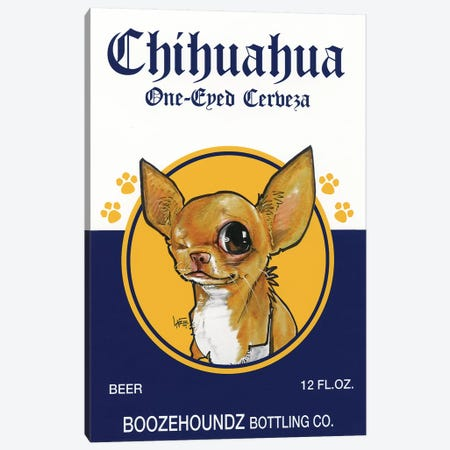 Chihuahua One-eyed Cerveza Canvas Print #CCA11} by Canine Caricatures Art Print