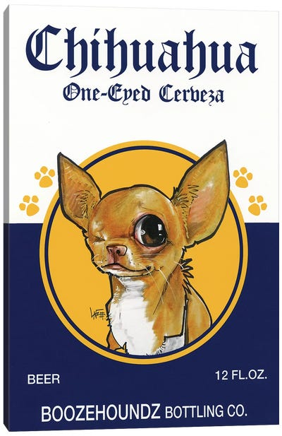 Chihuahua One-eyed Cerveza Canvas Art Print