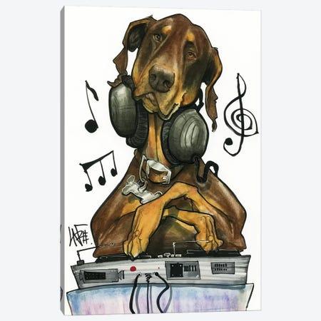 DJ Doberman Canvas Print #CCA12} by Canine Caricatures Canvas Print