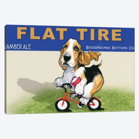 Flat Tire Canvas Print #CCA14} by Canine Caricatures Canvas Wall Art