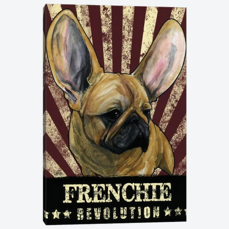 Frenchie Revolution Canvas Print #CCA15} by Canine Caricatures Canvas Artwork