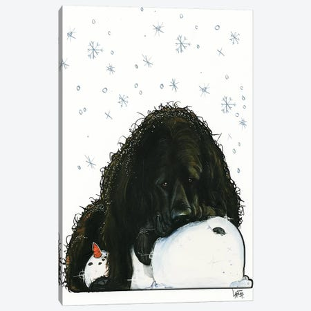 Newfoundland The Snowlover Canvas Print #CCA21} by Canine Caricatures Canvas Art