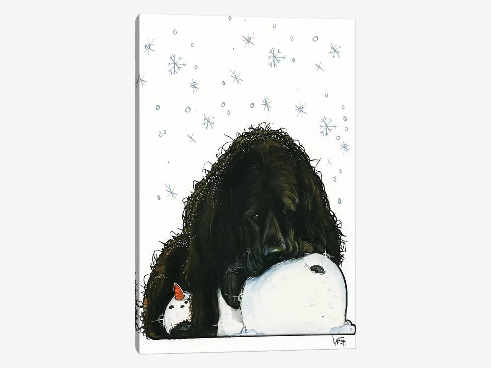 Newfoundland The Snowlover by Canine Caricatures 1-piece Canvas Print