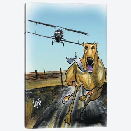 North by Northwest Greyhound Canvas Print #CCA22} by Canine Caricatures Canvas Wall Art