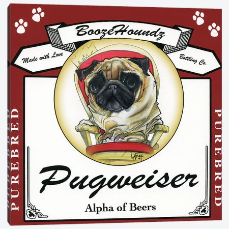 Pugweiser Canvas Print #CCA26} by Canine Caricatures Art Print