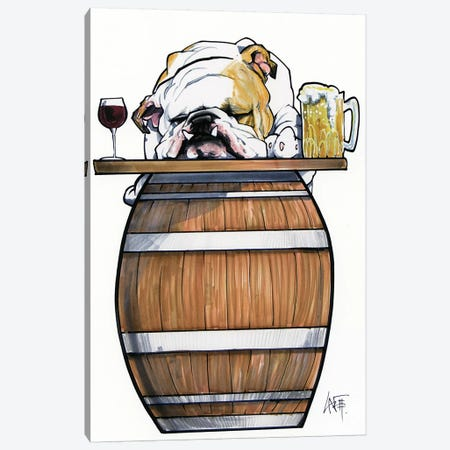 Tavern Bulldog Canvas Print #CCA29} by Canine Caricatures Canvas Wall Art