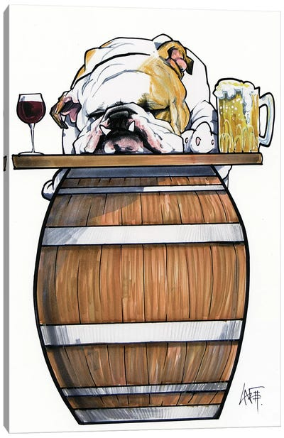 Tavern Bulldog Canvas Art Print