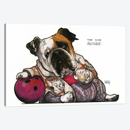 The Bulldog Lebowski Canvas Print #CCA30} by Canine Caricatures Art Print
