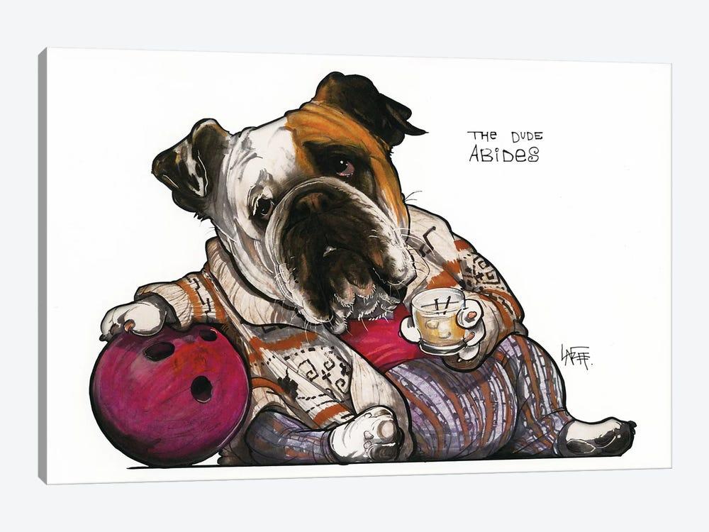 The Bulldog Lebowski by Canine Caricatures 1-piece Art Print
