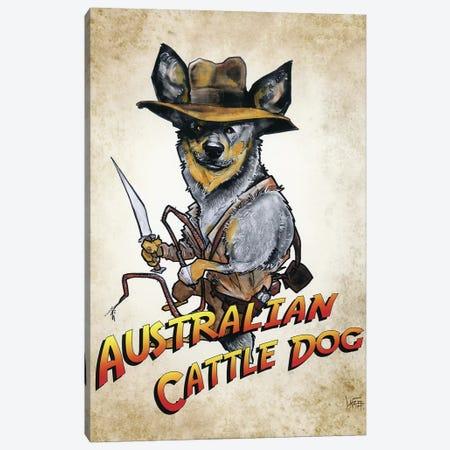 Australian Cattle Dog Jones Canvas Print #CCA36} by Canine Caricatures Canvas Wall Art