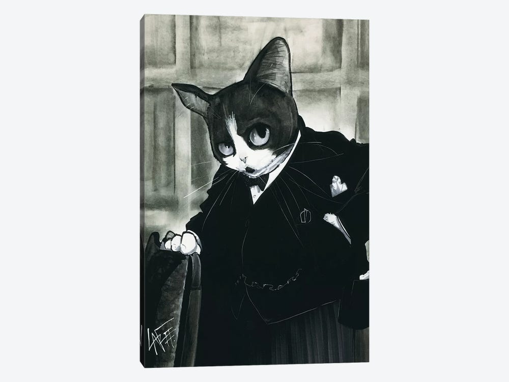 Churchill Cat by Canine Caricatures 1-piece Canvas Art