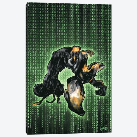 Dachshund Matrix Canvas Print #CCA40} by Canine Caricatures Canvas Artwork