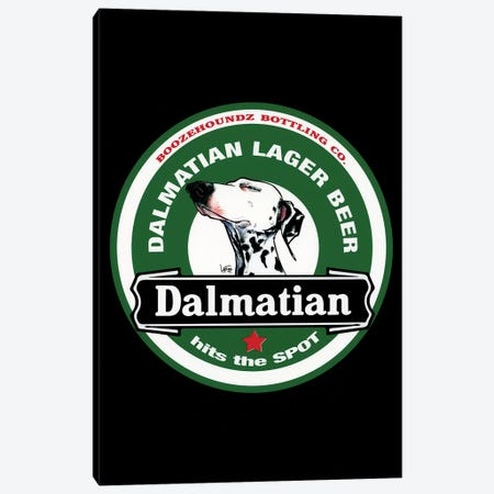 Dalmatian Lager Beer Canvas Print #CCA41} by Canine Caricatures Canvas Artwork