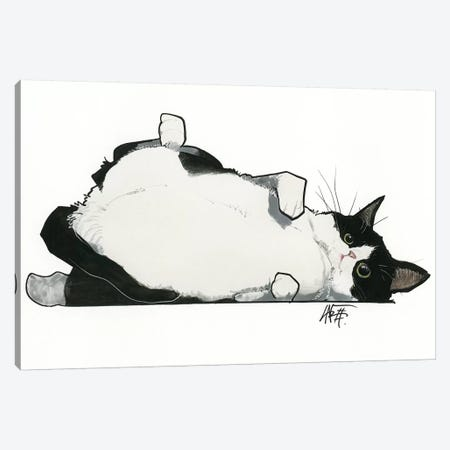 Kitty Wants A Belly Rub Canvas Print #CCA46} by Canine Caricatures Art Print