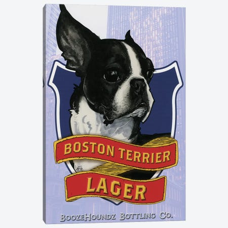 Boston Terrier Lager Canvas Print #CCA4} by Canine Caricatures Canvas Art