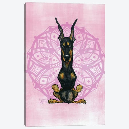 Meditating Doberman Canvas Print #CCA51} by Canine Caricatures Art Print