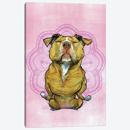 Meditating Pit Bull Canvas Print #CCA52} by Canine Caricatures Art Print