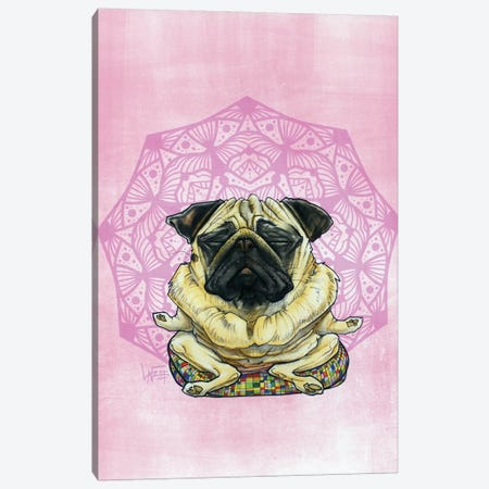 Meditating Pug Canvas Print #CCA53} by Canine Caricatures Canvas Print