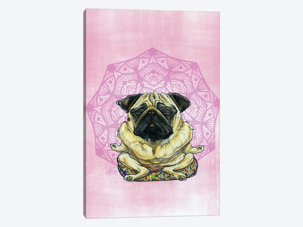 Meditating Pug by Canine Caricatures 1-piece Canvas Art