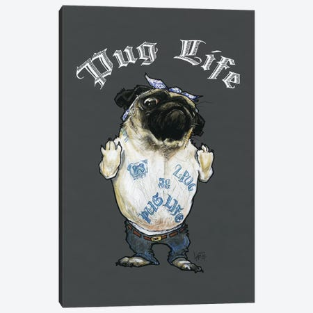 Pug Life 3-Piece Canvas #CCA57} by Canine Caricatures Canvas Artwork