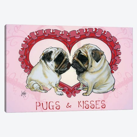 Pugs & Kisses 3-Piece Canvas #CCA58} by Canine Caricatures Art Print