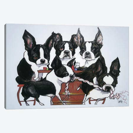 Boston Terriers Playing Poker Canvas Print #CCA5} by Canine Caricatures Canvas Wall Art