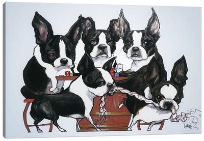 Boston Terriers Playing Poker Canvas Art Print