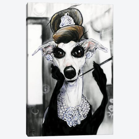 Breakfast at Tiffany's Whippet Canvas Print #CCA8} by Canine Caricatures Canvas Print