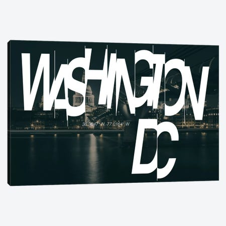 Washington, D.C. (38.9° N, 77° W) Canvas Print #CCB10} by 5by5collective Canvas Wall Art