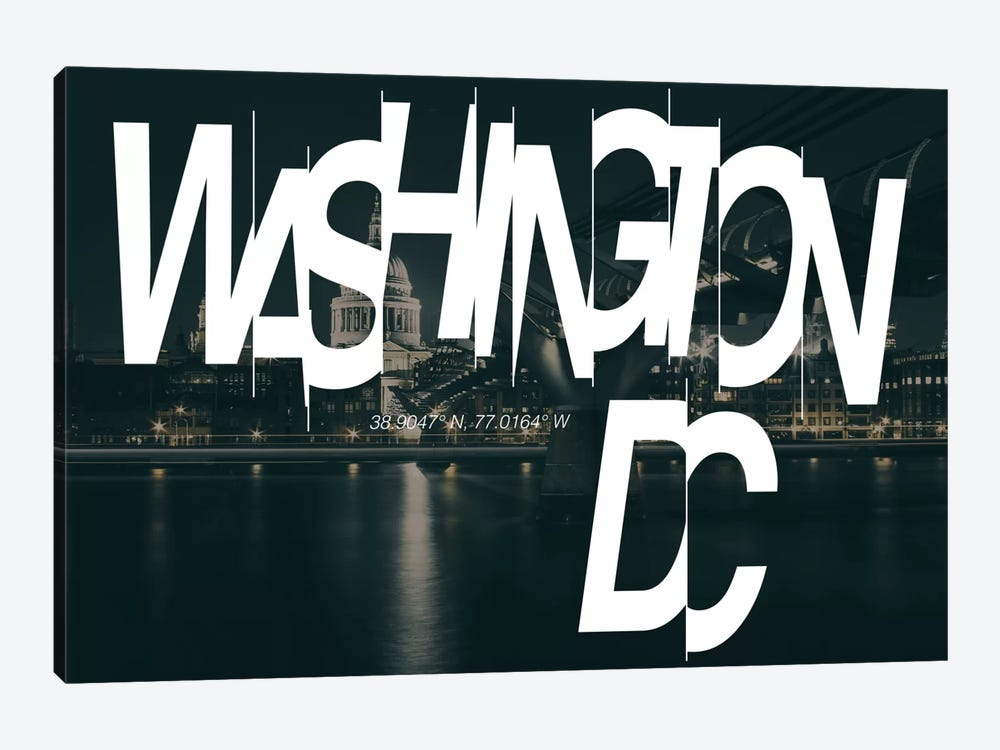 Washington, D.C. (38.9° N, 77° W) by 5by5collective 1-piece Art Print