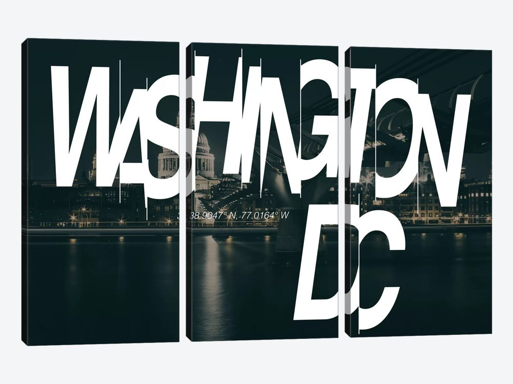 Washington, D.C. (38.9° N, 77° W) by 5by5collective 3-piece Canvas Art Print