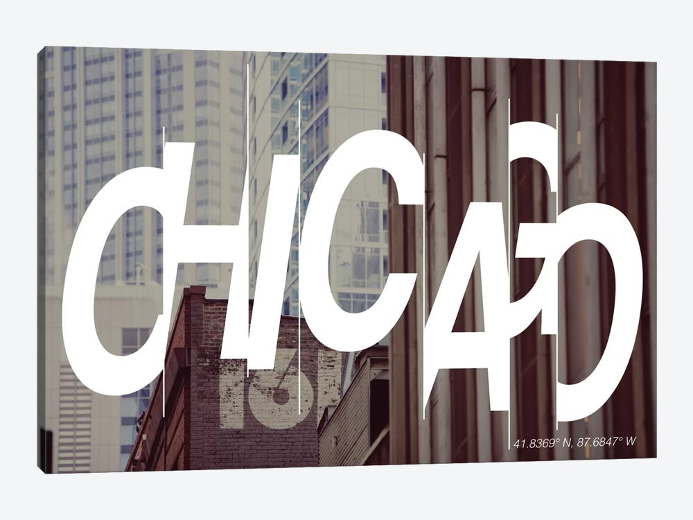 Chicago (41.8° N, 87.6° W) by 5by5collective 1-piece Canvas Print