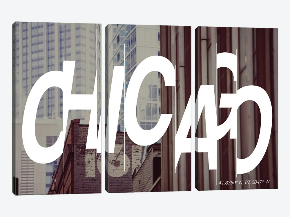 Chicago (41.8° N, 87.6° W) by 5by5collective 3-piece Canvas Print