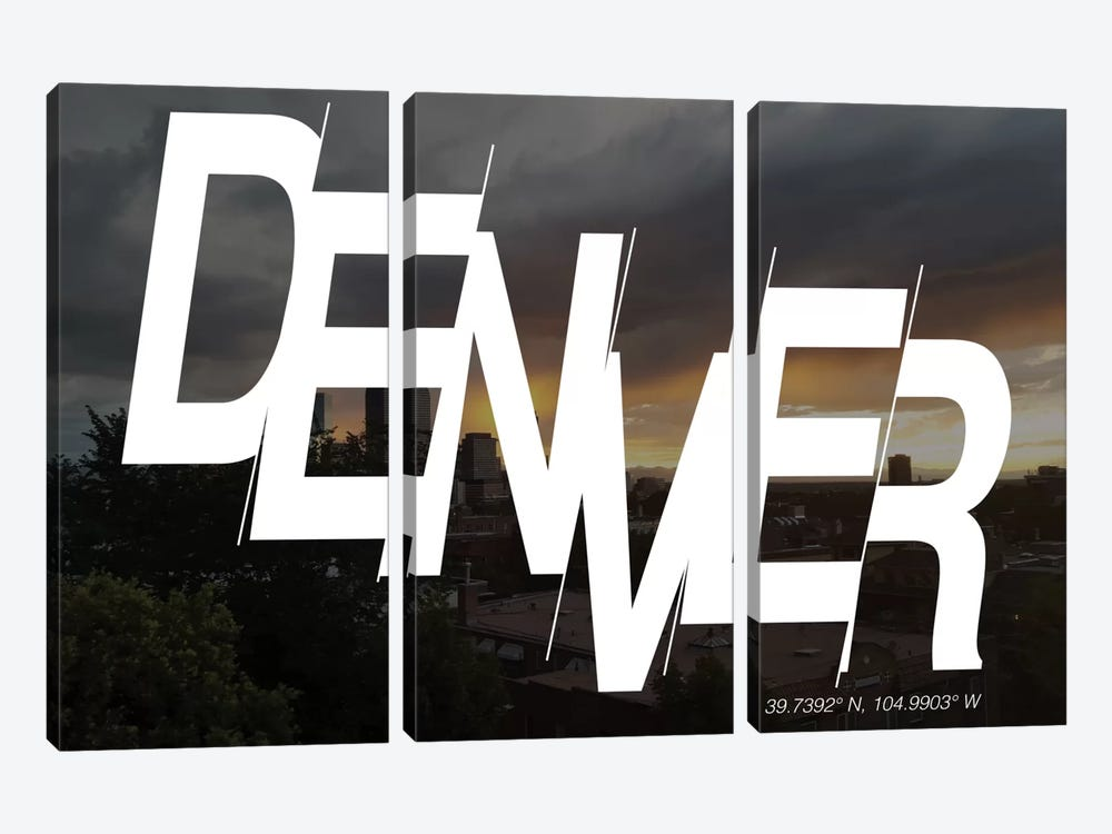 Denver (39.7° N, 104.9° W) by 5by5collective 3-piece Canvas Artwork