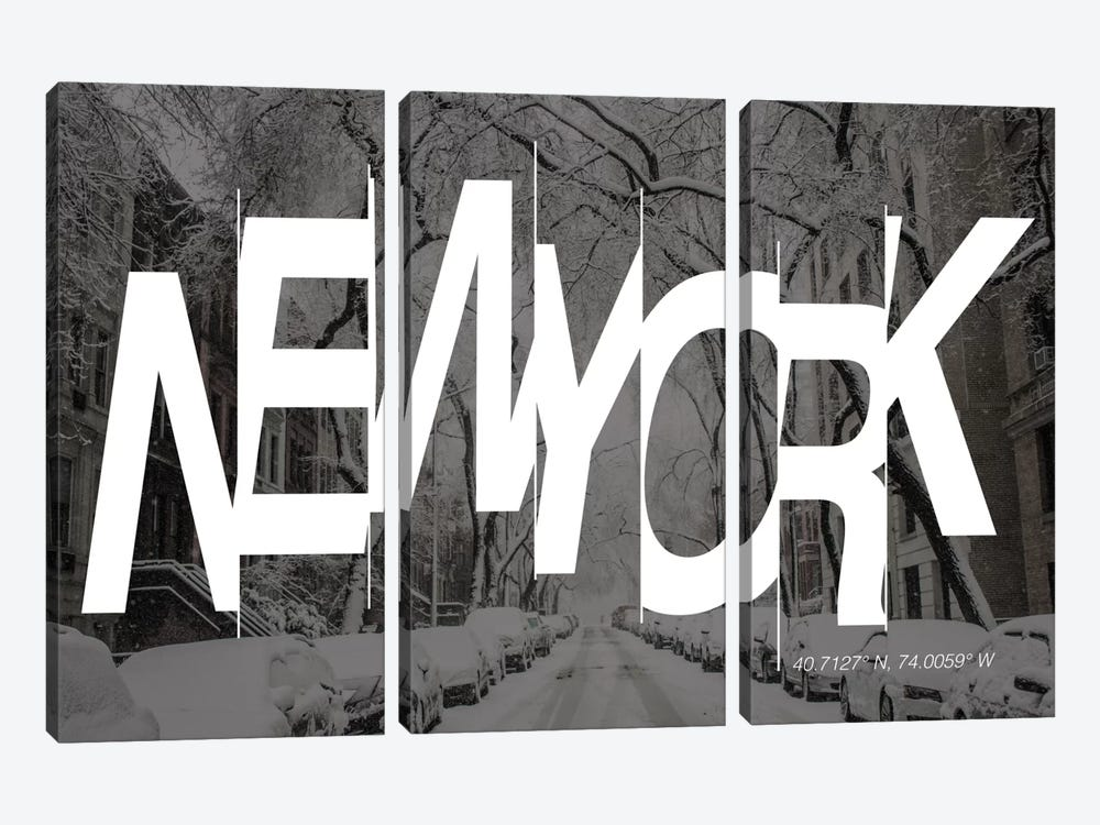 New York (40.7° N, 74° W) by 5by5collective 3-piece Canvas Wall Art