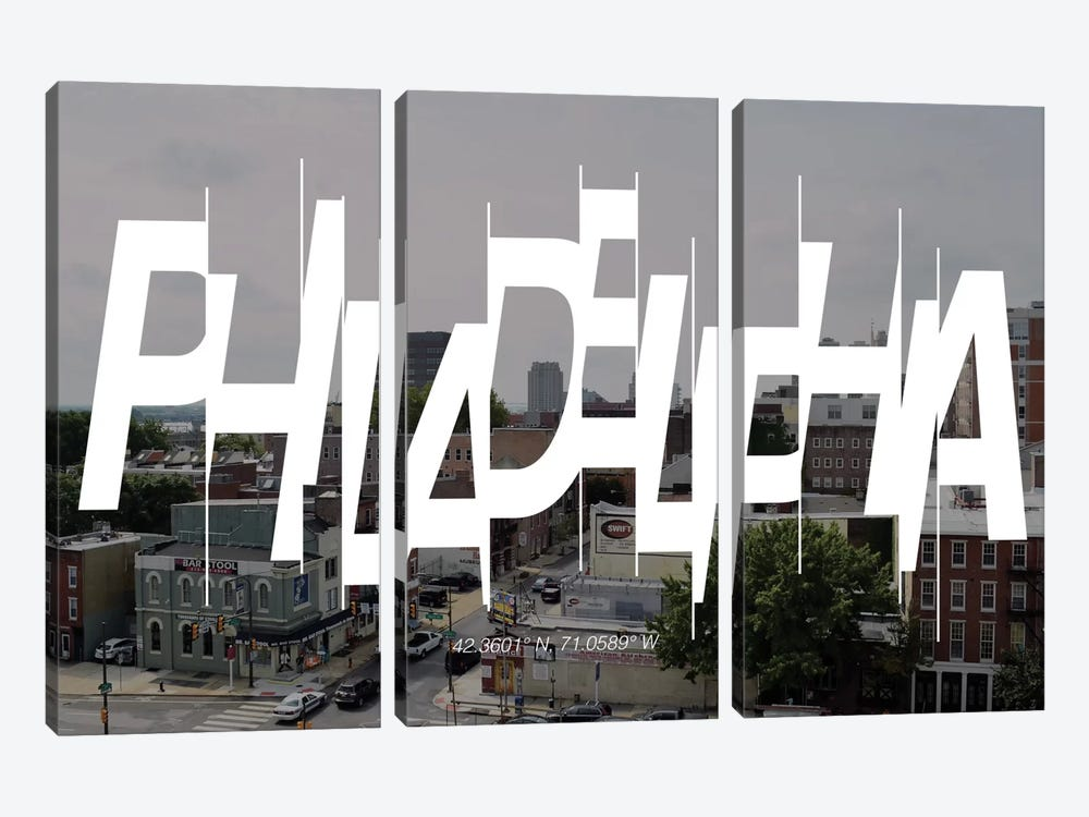 Philadelphia (42.3° N, 71° W) by 5by5collective 3-piece Art Print