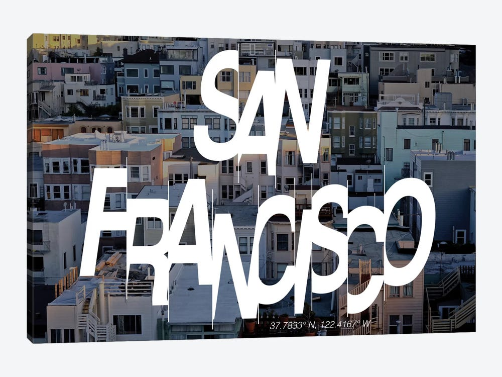 San Francisco (37.7° N, 122.4° W) by 5by5collective 1-piece Canvas Artwork