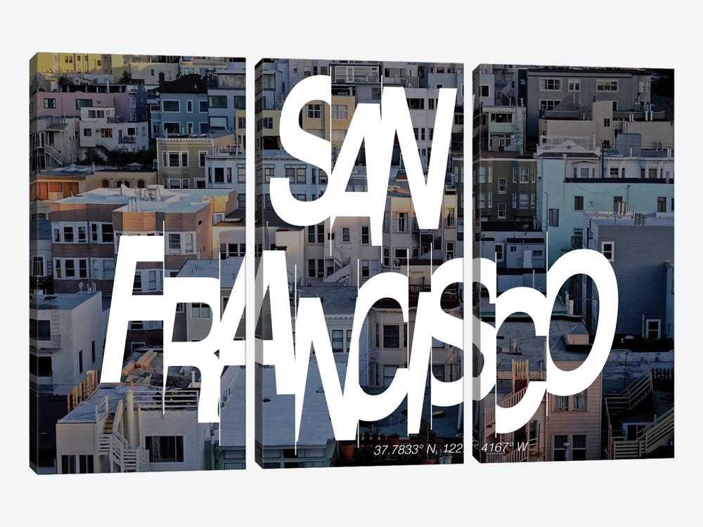 San Francisco (37.7° N, 122.4° W) by 5by5collective 3-piece Canvas Artwork