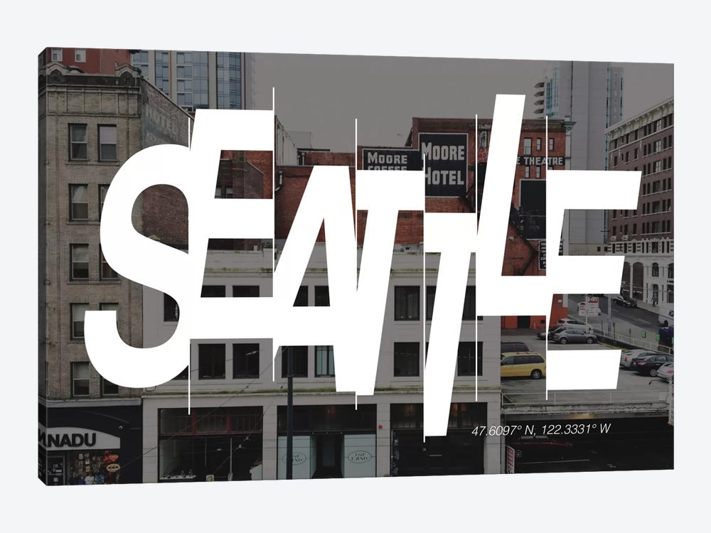 Seattle (47.6° N, 122.3° W) by 5by5collective 1-piece Art Print