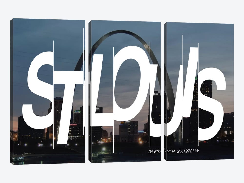 St. Louis (38.6° N, 90.1° W) by 5by5collective 3-piece Canvas Art