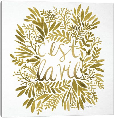 C'est La Vie Gold Artprint Canvas Print #CCE101