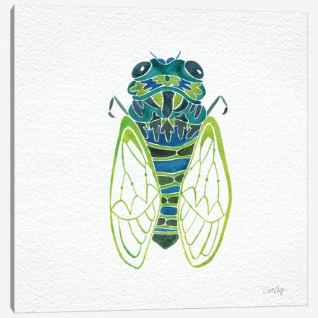 Cicada Blue Artprint Canvas Print #CCE110} by Cat Coquillette Art Print