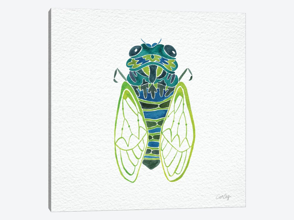 Cicada Blue Artprint by Cat Coquillette 1-piece Canvas Art