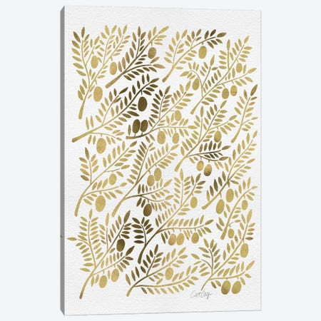 Gold Olive Branches Canvas Print #CCE112} by Cat Coquillette Canvas Print
