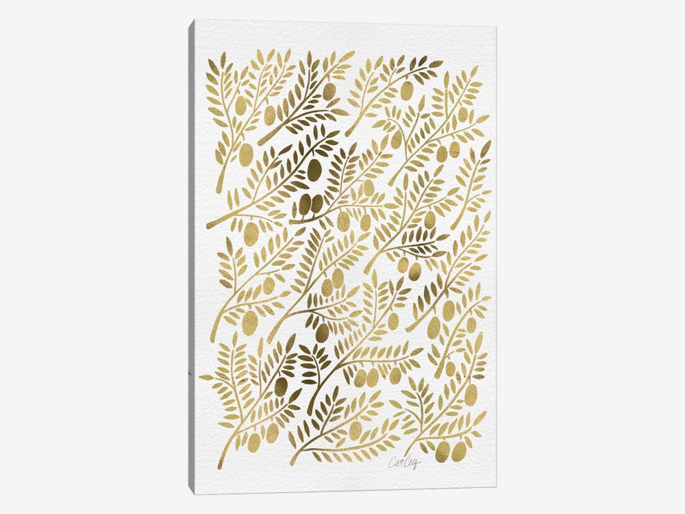 Gold Olive Branches Artprint by Cat Coquillette 1-piece Canvas Artwork