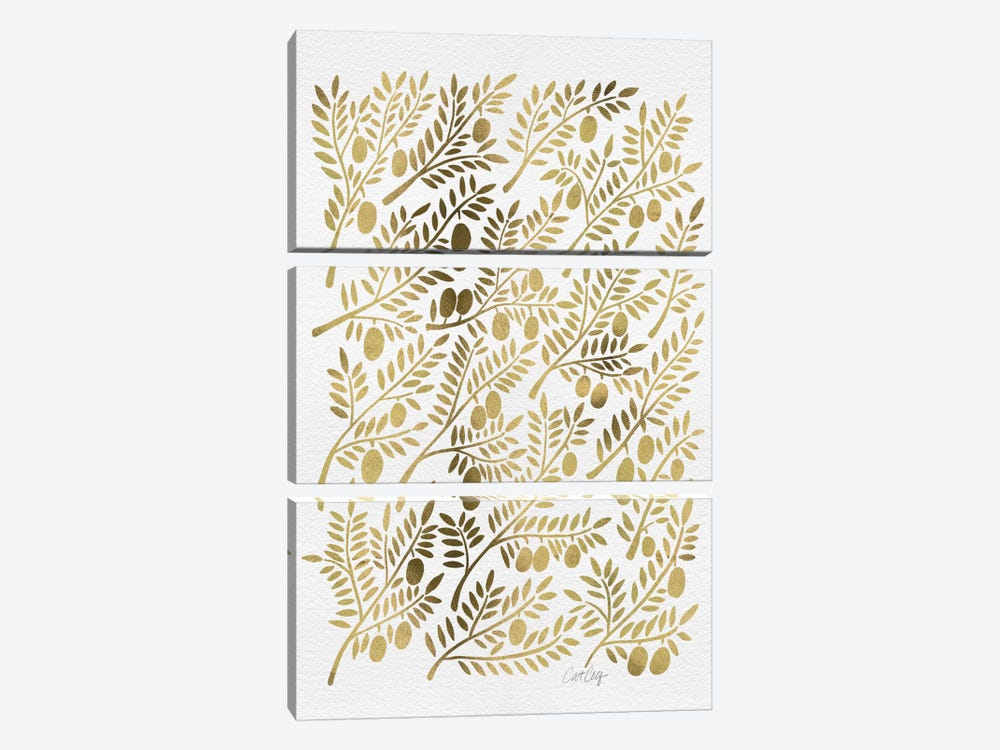 Gold Olive Branches Artprint by Cat Coquillette 3-piece Canvas Artwork