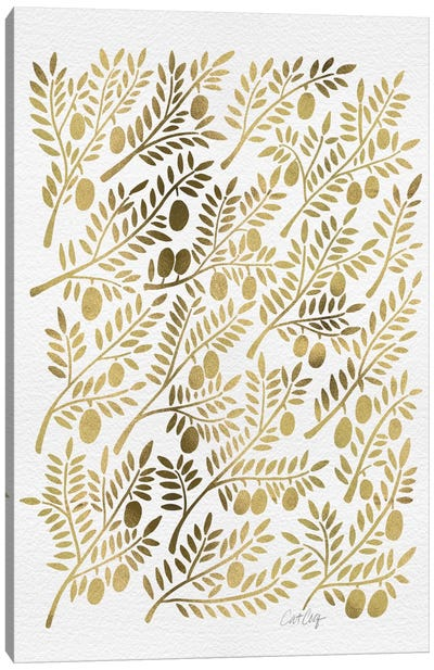 Gold Olive Branches Canvas Art Print
